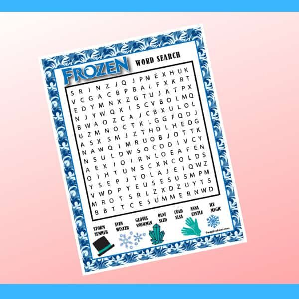 Frozen Word Search Printable